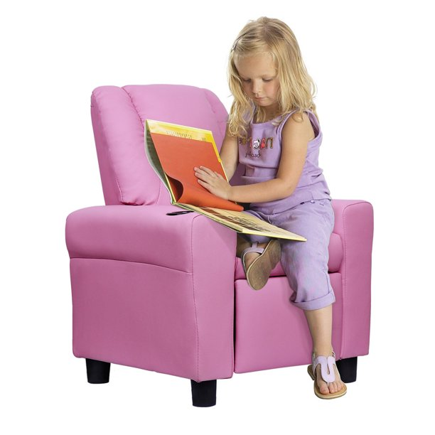 Kids Recliner Sofa Pu Leather, Child Recliner Chair With Cup Holder