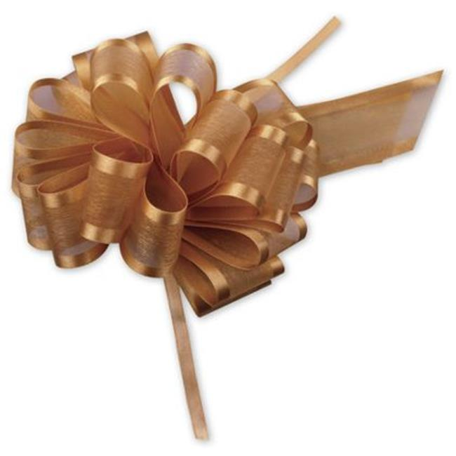 Deluxe Small Business Sales PR819-27 4 inch Sheer Satin Edge Pull Bows, Gold