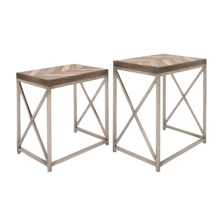Art Deco Nesting Tables - Decmode Set of 2 Contemporary 23 and 26 Inch Rectangular Iron and Wood Nesting Tables, Silver