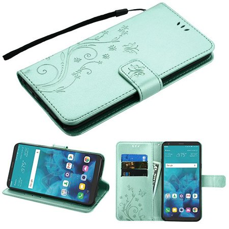 Phone Case for LG Stylo 4 - Pattern Flip Wallet Case Cover Stand Pouch Book Magnetic Buckle with Hand Strap 3D Butterfly Flower - Teal Green