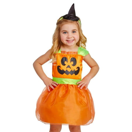 dc93d249cfeb5 Infant   Toddler Girls Pumpkin Costume Shimmery Dress   Hat Set -  Walmart.com