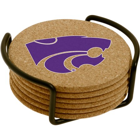 Set of Six Cork Coasters with Holder Included, Kansas State University