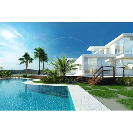 Luxury Modern White House with Angular Walls and Large Windows Overlooking a Tropical Landscaped Ga Print Wall Art By (Angular Faces)