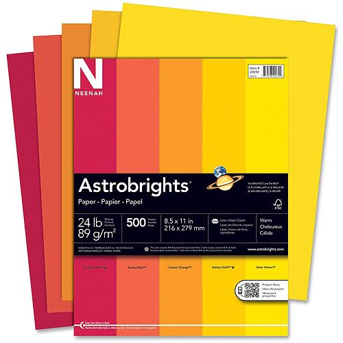 Wausau Astrobrights Warm Assortment 24 lb Paper