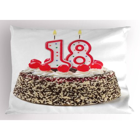 18th Birthday Pillow Sham Sweet Eighteen Party Cake With Candles And Cherries Sprinkle Vibrant Photo