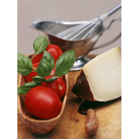 Fresh Tomatoes, Basil and Piece of Cheese, Sauce-Boat Print Wall Art 5 Piece Tomato