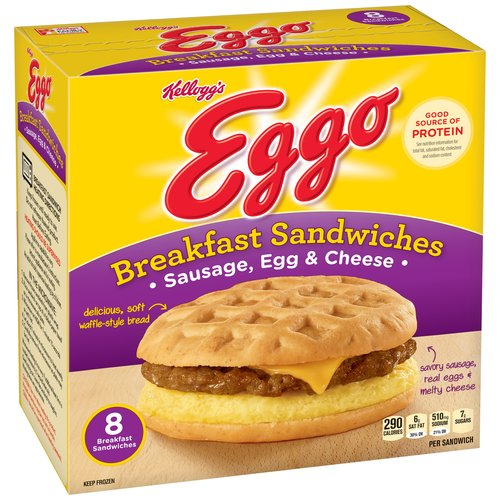 Kellogg's Eggo Sausage, Egg & Cheese Breakfast Sandwiches, 8 count, 27.6 oz