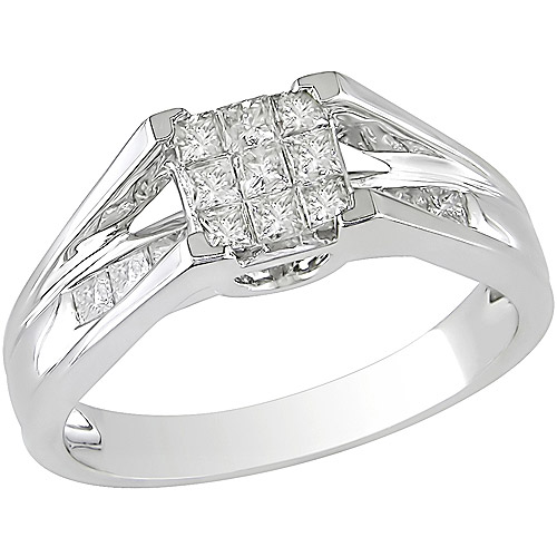 1/2 Carat T.W. Princess-Cut Diamond Engagement Ring in 10kt White Gold