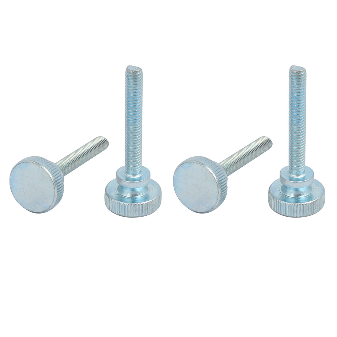 Unique Bargains M6x40mm Carbon Steel Flat Knurled Head Fully Threaded Thumb Screw Bolt 4pcs - image 3 of 3