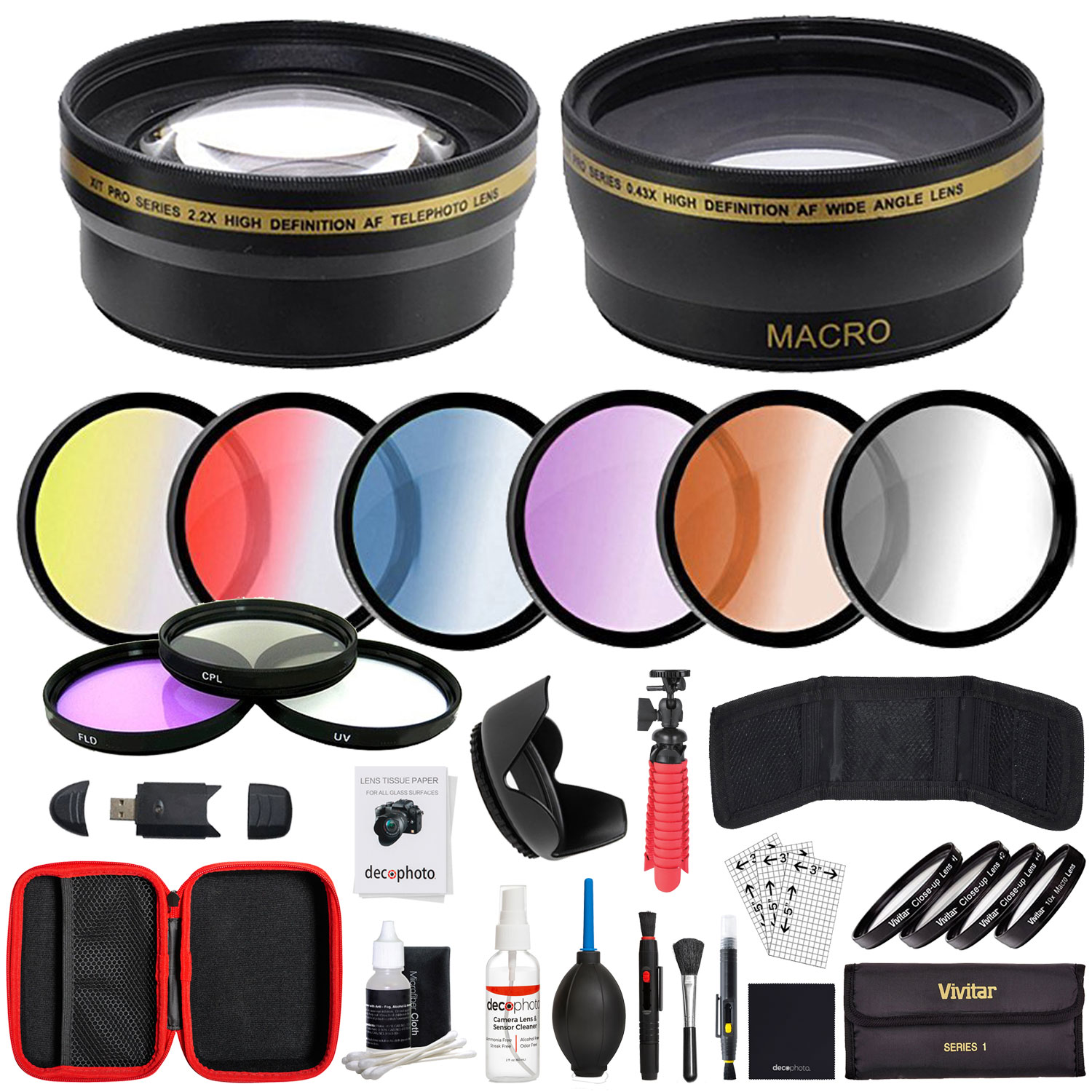 Deco Gear 52mm Lens Accessory Kit - Includes Filter Sets, Cases, and Cleaning Kit