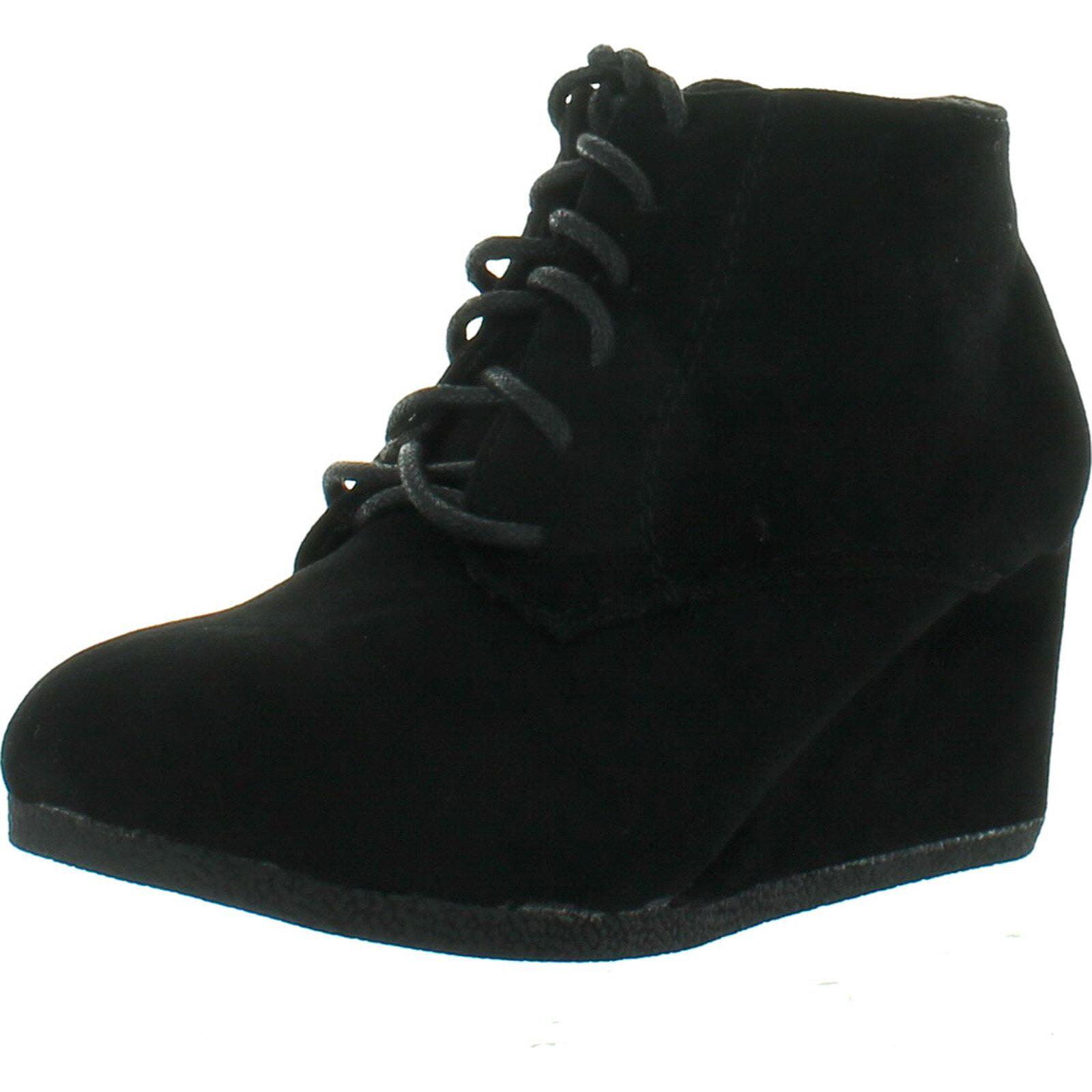 Bella Marie Girls Lace Up Ankle Bootie Wedge* Lightweight Kids Boots BRENDA-11K