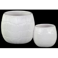Urban Trends Collection: Ceramic Pot Gloss Finish White