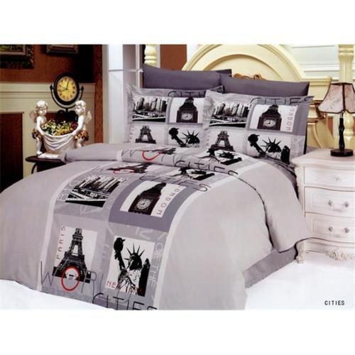 Le Vele LE90Q Queen Modern City Theme Bedding Duvet Cover Set