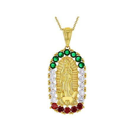 18k Medal (18k Gold Plated Mexican Flag Our Lady Of Guadalupe Medal Pendant Necklace 19