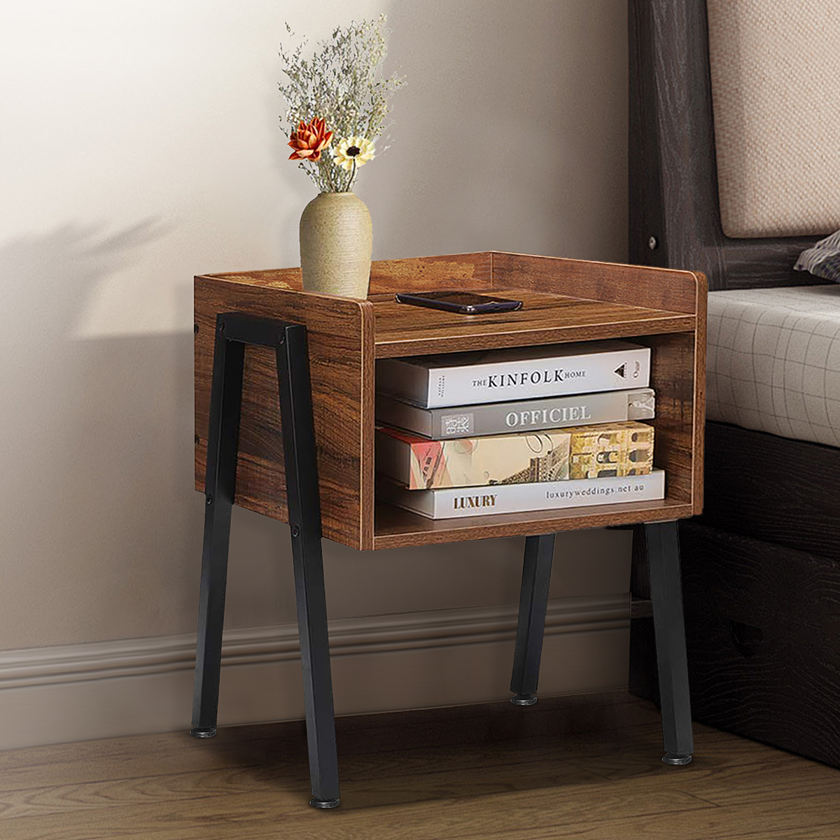 Industrial Nightstand End Table Stackable Side Table Night