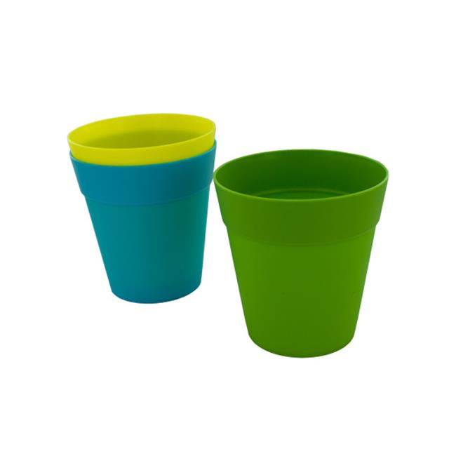 225 & Colorful plastic flower pot 5 inches assorted colors - Case of 48
