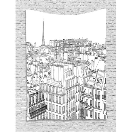 Paris Tapestry, Architecture Theme Design Illustration of Roofs in Paris and Eiffel Tower Print, Wall Hanging for Bedroom Living Room Dorm Decor, Black and White, by Ambesonne - Paris Themed Room Decor