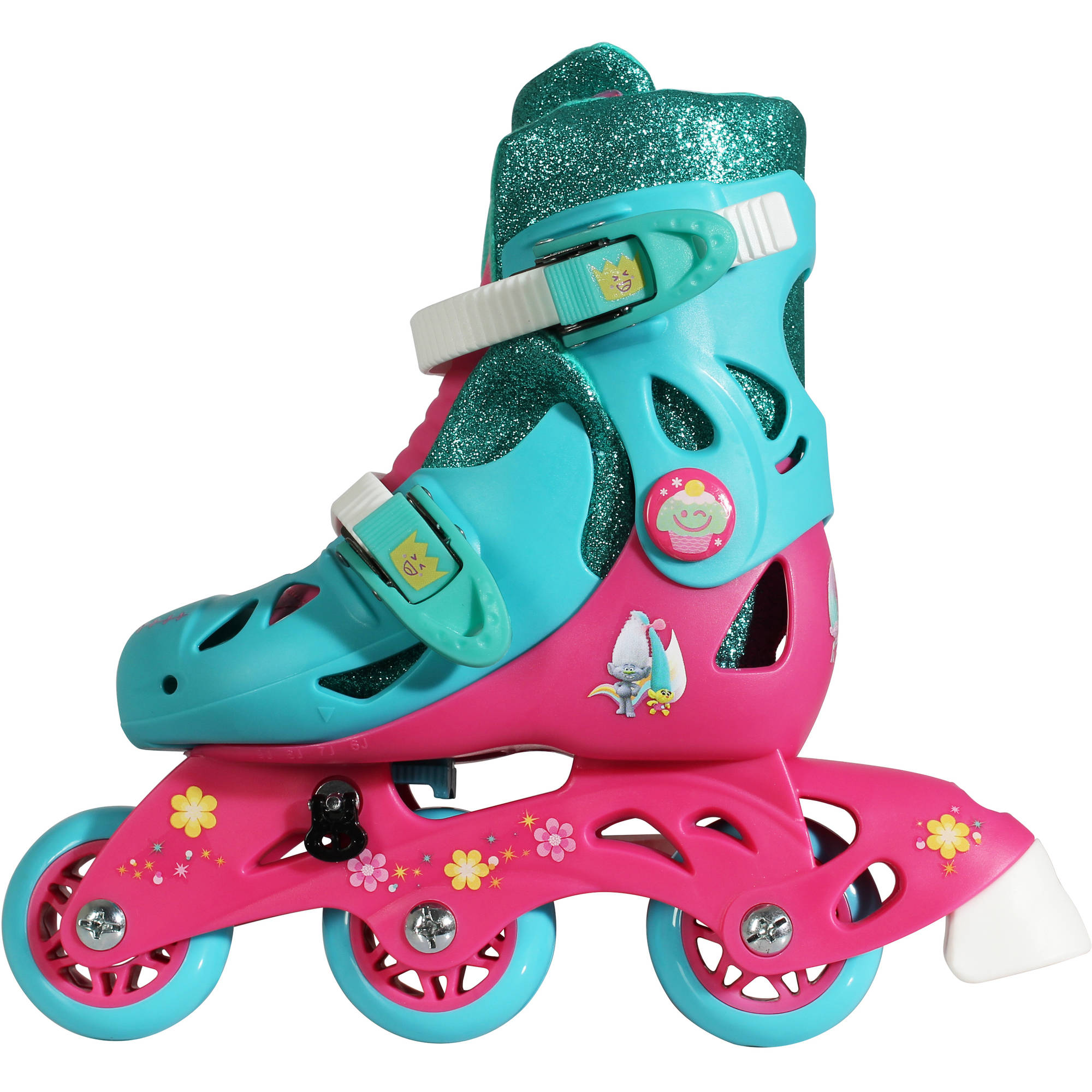 Playwheels Trolls Convertible 2-in-1 Kids Skate, Junior Size 6-9