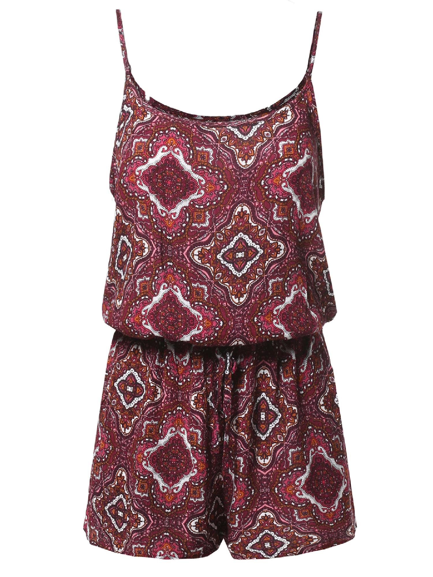 FashionOutfit Women's Summer Spaghetti Strap Floral Print Overlay Romper Jumpsuit