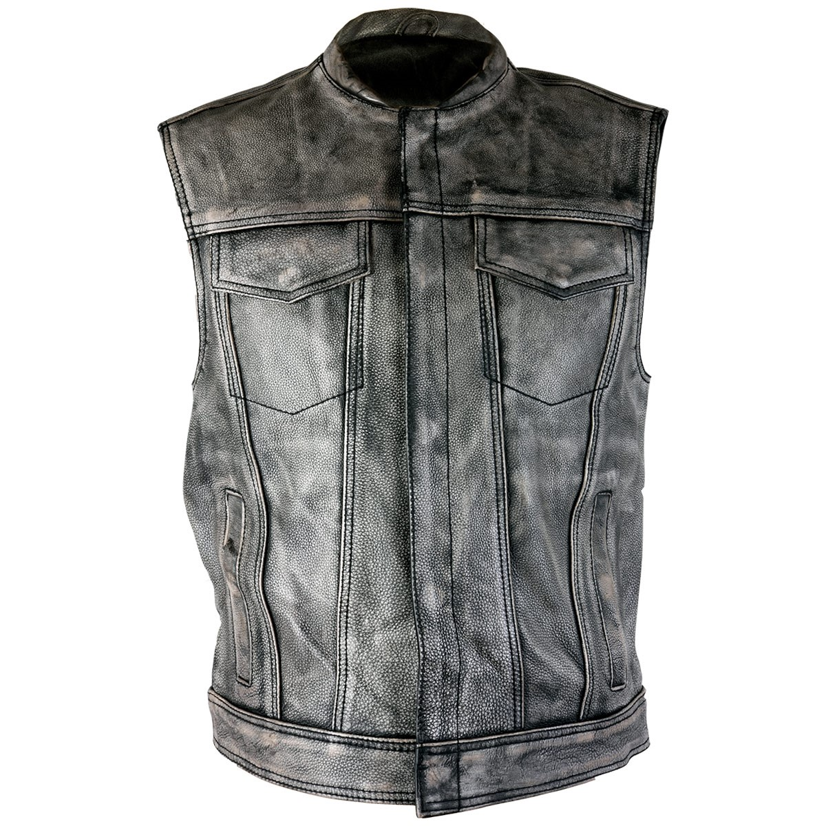 Xelement XS-39050 Mens Crypt Distressed Gray Leather Premium Cowhide Vest