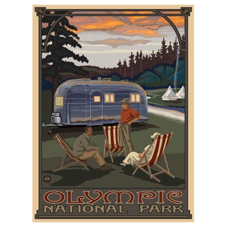 Olympic National Park Pictures (Olympic National Park Airstream Trailer Travel Art Print Poster by Paul A. Lanquist (9
