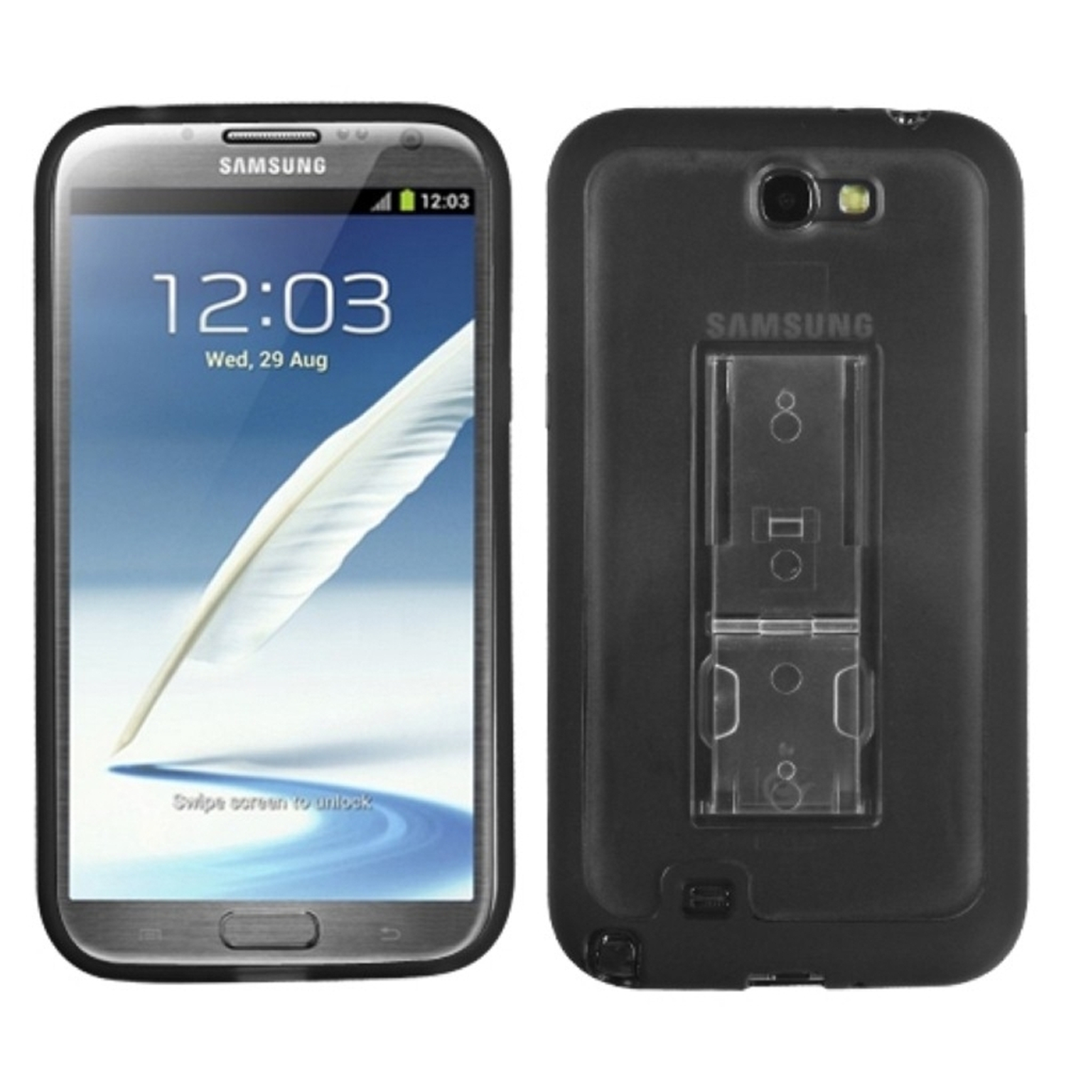 Insten Transparent Smoke/Solid Black (With Stand) Gummy Cover Case for SAMSUNG: Galaxy Note II (T889/I605/N7100)