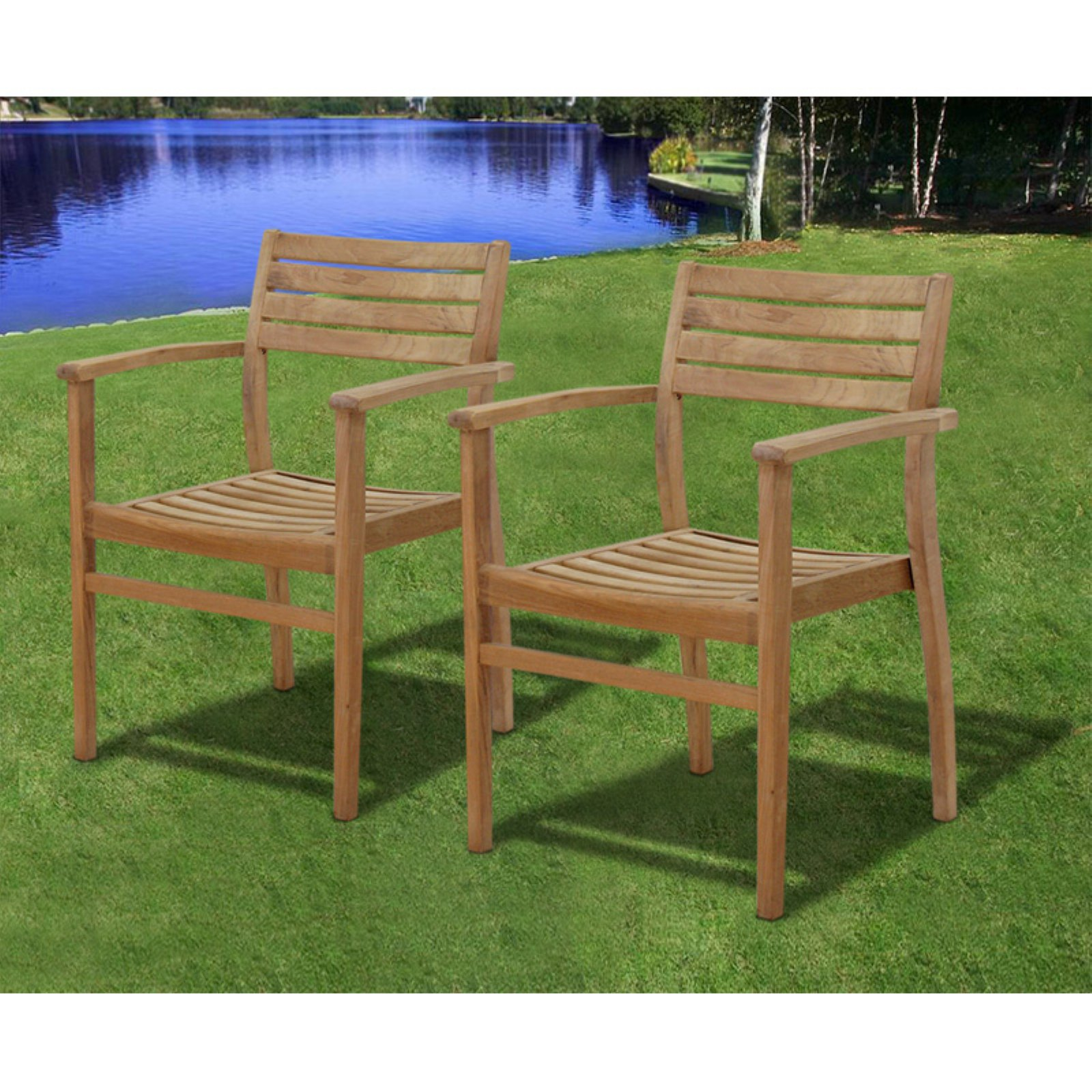 Amazonia Coventry Teak Stacking Dining Chairs - Set of 2