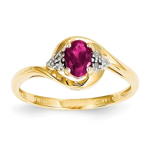 14k Yellow Gold 6x4 Oval Diamond & Genuine Ruby Ring Wt- 0.02ct. Gem Wt- 0.52ct by Jewelrypot