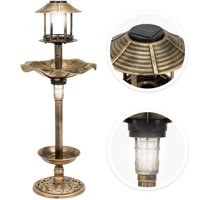 Best Choice Products Decorative Garden Solar-Powered LED Pedestal Bird Bath Feeder w/ Planter, Lamp Topper, Bronze