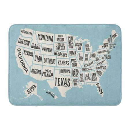 SIDONKU Massachusetts Map of United States America Names USA Geographic Themes Colorful City Doormat Floor Rug Bath Mat 23.6x15.7 inch