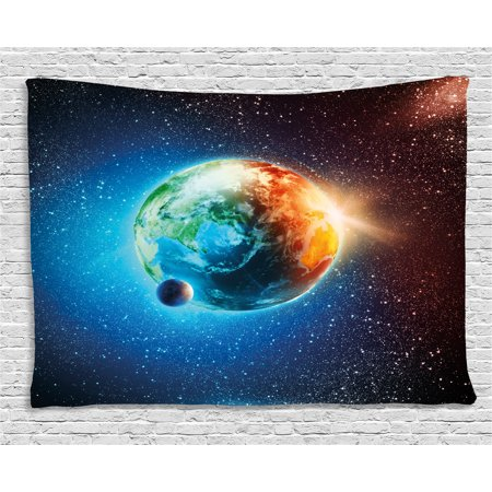 Earth tapestry majestic galaxy outer space view universe for Space themed tapestry