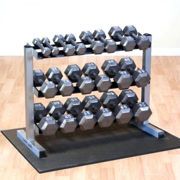 Body Solid 5-50 Gray Hex Dumbbell set & GDR363 Rack and R...