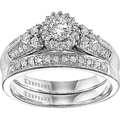 Keepsake Wings of Love 1/2 Carat T.W. Diamond 14kt White Gold Bridal Set