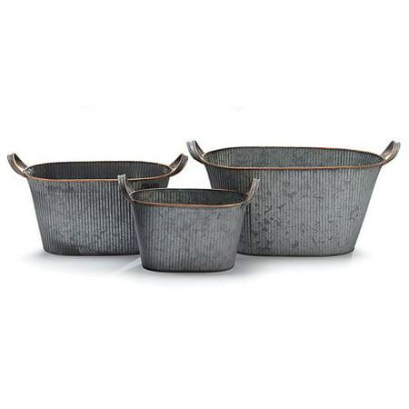 Nested Planter (Burton & Burton Planter Tin Nested Oval Set, Set Of 3)
