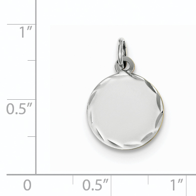 14K White Gold Etched .009 Gauge Engraveable Round Disc Charm - image 2 of 3