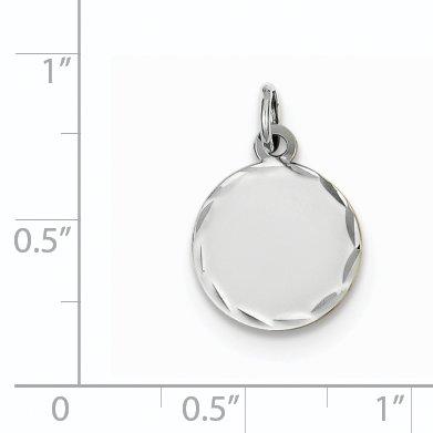 14K White Gold Etched .013 Gauge Engraveable Round Disc Charm - image 2 de 3