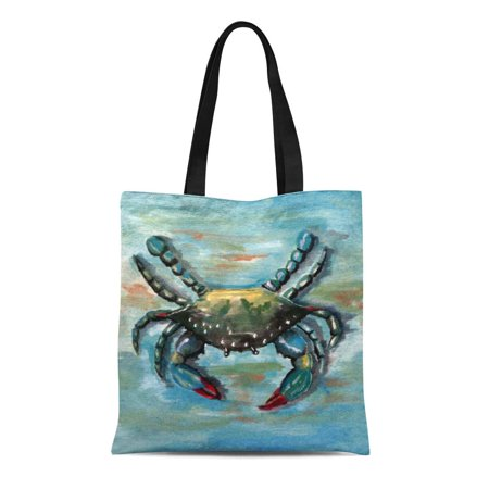 ASHLEIGH Canvas Tote Bag Chesapeake Blue Crab on Bay Maryland Virginia Seafood Reusable Handbag Shoulder Grocery Shopping