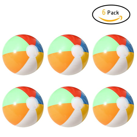 6PCS 20CM Rainbow-Color Inflatable Beach Ball Kid's Water Polo Birthday New Year Christmas Gift