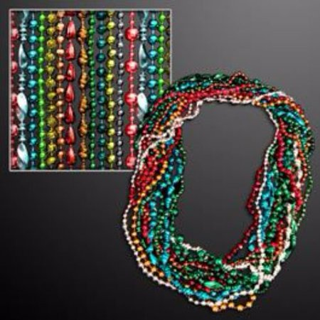 Assorted Style and Color Mardi Gras Bead Necklaces Pack of 12 - Mardi Gras Decorations Clearance