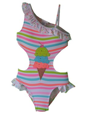 Starfish Swim Little Girls Pink Stripe SPF 50+ One Piece Monokini Swimsuit