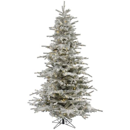 Vickerman Pre-Lit 6.5' Flocked Sierra Artificial Christmas Tree, LED ...
