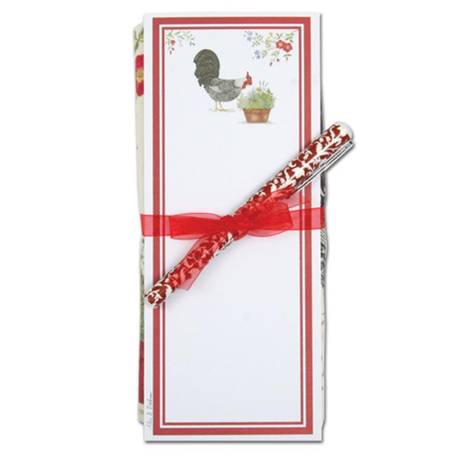 Alice's Cottage ACU26425 Rooster Flour Sack Towel and Magnetic Note Pad Set