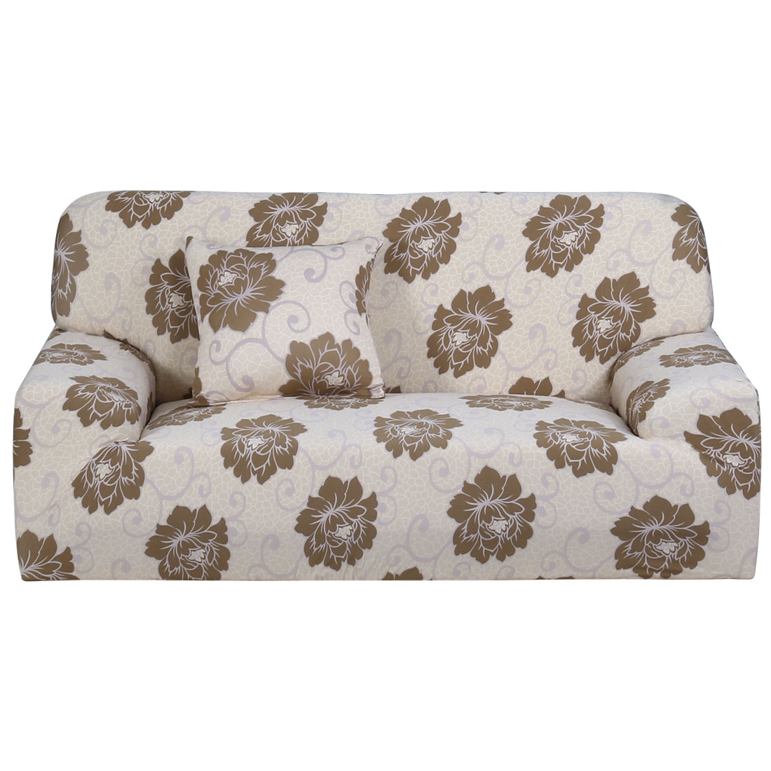 Home Polyester Flower Pattern Elastic Sofa Loveseat Cover Slipcover 55-74 Inch