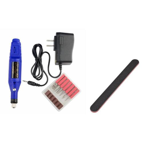 Zodaca Blue Nail Art Drill KIT Electric FILE Buffer Bits Salon Machine+Nail Files Buffing Crescent Grit Sandpaper (2-in-1 Accessory Bundle)