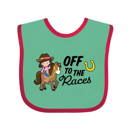 Off To The Races with Cowgirl on Horse Baby Bib - Cowgirl Baby