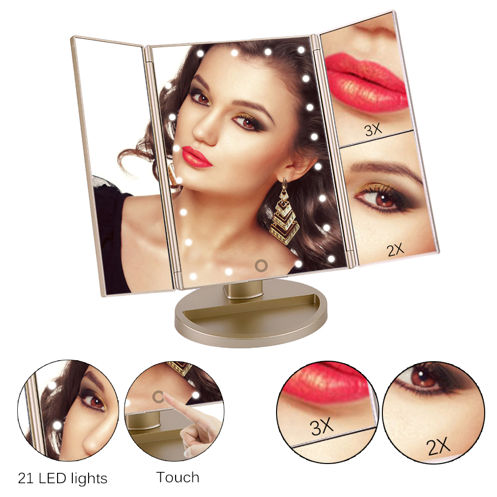 21 LED Lights Touch Screen 3x Makeup Mirror Cosmetic Tabletop Vanity Mirror by YKS