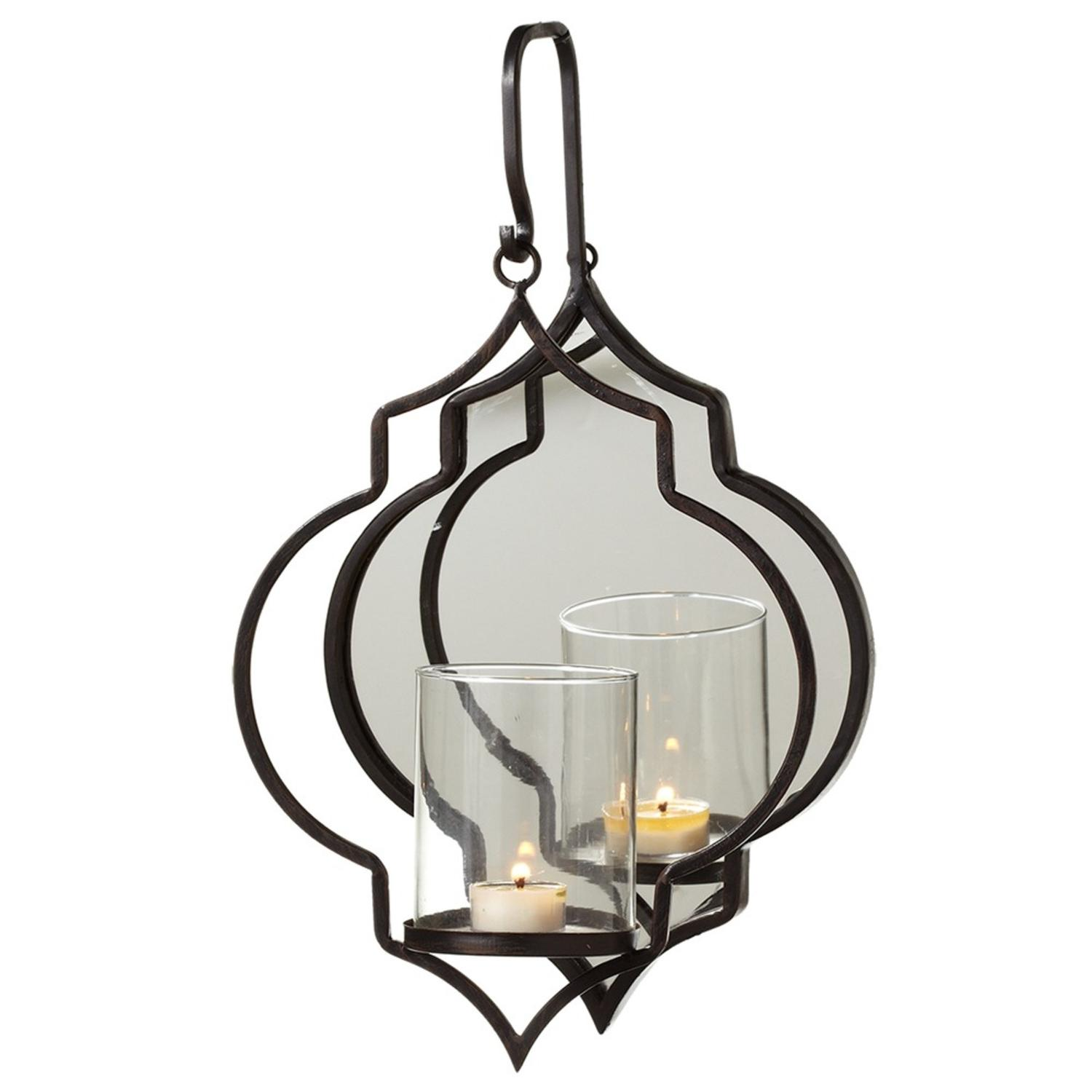 Dark Brown Curly Hanging Single Tealight Holder with Oval Mirror 17""