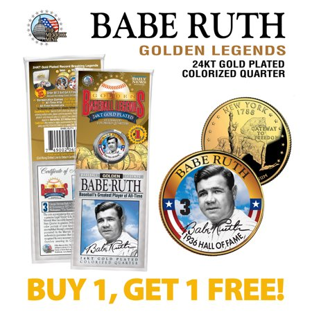 BABE RUTH Yankees #3 Golden Legends 24K Gold Plated State Quarter US Coin - BOGO State Quarters Us Coins
