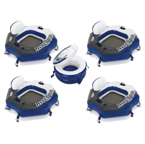 Four Intex River Run Connect Lounge Inflatable Floating Water Tubes and Cooler