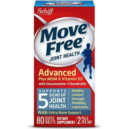 (Move Free Advanced Plus MSM and Vitamin D3 Joint Health Supplement with Glucosamine and Chondroitin 80 ct)